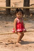 Little Asian Girl Lives In Angkor Wat Temple
