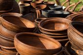 picture of exposition  - Traditional pottery outdoor exposition at country fair - JPG