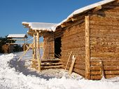 image of olden days  - Construction of rural house - JPG