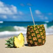 Pina Colada On Caribbean Beach
