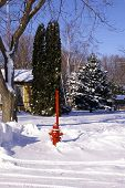 Hydrant With Snow Pole