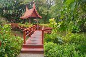 Thai Wooden Bridge With Luxury Garden