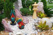Chicken Statues In The Garden