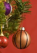 Christmas Basketball Ornament Hanging On Tree