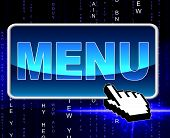 Online Menu Represents World Wide Web And Dining