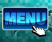 Online Menu Represents World Wide Web And Button