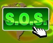 Sos Button Indicates World Wide Web And Support