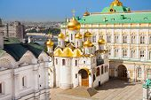 The top view of Annunciation Cathedral in Kremlin