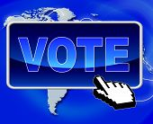 Vote Button Shows World Wide Web And Net