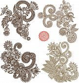 image of indium  - collection of hand draw line art ornate flower design - JPG