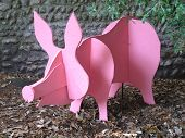 Pink Wooden Pig