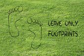 stock photo of footprint  - sustainability tourism and ecology - JPG