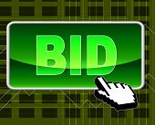 Bid Button Represents World Wide Web And Auction
