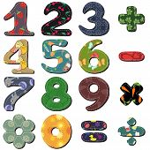 picture of poka dot  - scrapbook numbers and signs on white background vector illustration - JPG