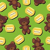 seamless background with bears and honey