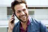 Smiling Man Calling By Mobile Phone