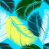Multicolour Palm Leaves Seamless Pattern