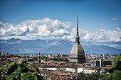 stock photo of turin  - Panoramic view of Turin city center in Italy in a sunny day with Mole Antonelliana and Alps in the background - JPG
