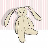 Hand Drawing Rag Bunny Sitting Isolated