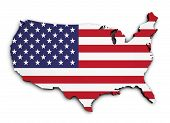 Usa Flag Map 3D Shape