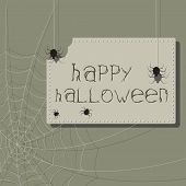 Bitten Sign. Halloween Invitation With Spiders And Web