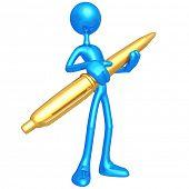 Holding Golden Pen