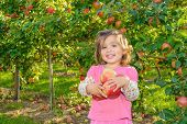 Cute Little Girl In The Garden With Apples