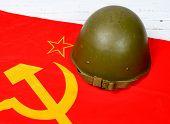 Helmet On The Flag Of The Soviet Union