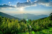 stock photo of breathtaking  - Sunrise over Blue Ridge Mountains Scenic Overlook - JPG