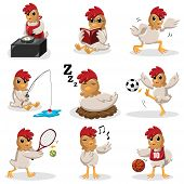 Chicken Characters Doing Different  Activities