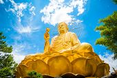 image of lats  - Big Golden Buddha with Lotus Flower  at Da Lat - JPG