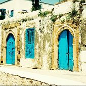 Old House  With  Blue Doors And Windows, Sidi Bou Said, Tunisia