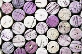 Close-up horizontal format image of used wine bottle corks background