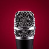 Wireless Microphone On Red Background