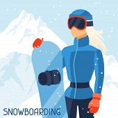 Girl snowboarder on mountain winter landscape background.