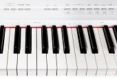 Keys of digital white piano synthesizer