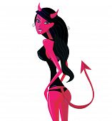 Cartoon retro devil pinup girl