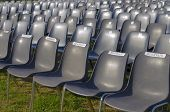 Empty chairs for an outdoor show