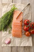 Salmon Fillet On Brown Kitchen Papper