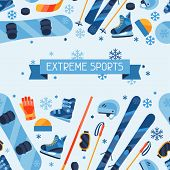 Winter sports seamless pattern with equipment flat icons.