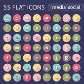 stock photo of social housing  - Set of universal media social flat circle icons or buttons with long shadow for web and mobile app EPS 10 - JPG