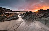 Sunset At Lusty Glaze Beach At Newquay In Cornwall