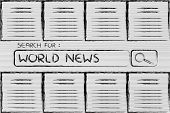 Documents And Search Bar, Looking For World News