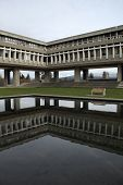 stock photo of quadrangles  - The Academic Quadrangle pond at Simon Fraser University - JPG
