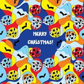Merry christmas card - whimsical design