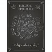 Vector vintage  breakfast, lunch and dinner  poster with food