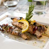 image of swordfish  - Swordfish fillet grilled with souse lemon and rosemary - JPG