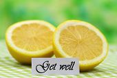Get well card with fresh lemon