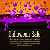 Happy halloween Sale cute retro banner on the craft paper texture. Black witch cauldron boiling viol