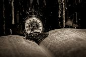 Bible And Steampunk Clock